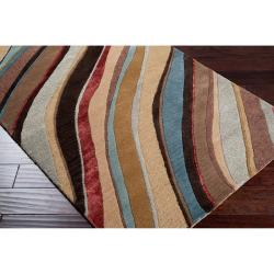 Hand-tufted Contemporary Multi Colored Striped Hercules New Zealand Wool Abstract Rug (5' x 8')
