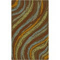 Hand-tufted Contemporary Multi Colored Striped Thummy New Zealand Wool Abstract Rug (9' x 13')