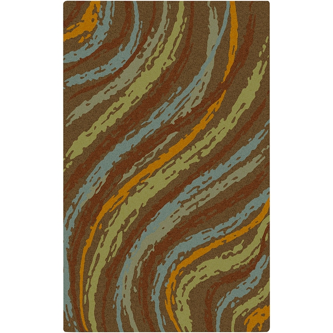 Hand-tufted Contemporary Multi Colored Striped Thummy New Zealand Wool Abstract Rug (8' Round)