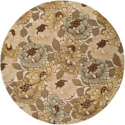 Hand-tufted 'Napa' New Zealand Wool Ivory Rug (8' Round)