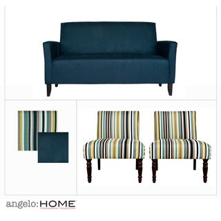 Angelo Home Sutton Midnight Blue 3 Piece Sofa Set Overstock Shopping Big Discounts On