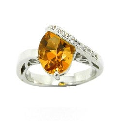 D'sire 10k White Gold Citrine and White Sapphire Ring