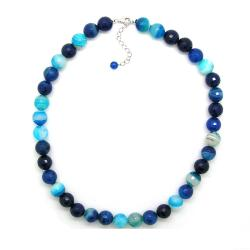 Pearlz Ocean Sterling Silver Blue Banded Agate Faceted Bead Necklace