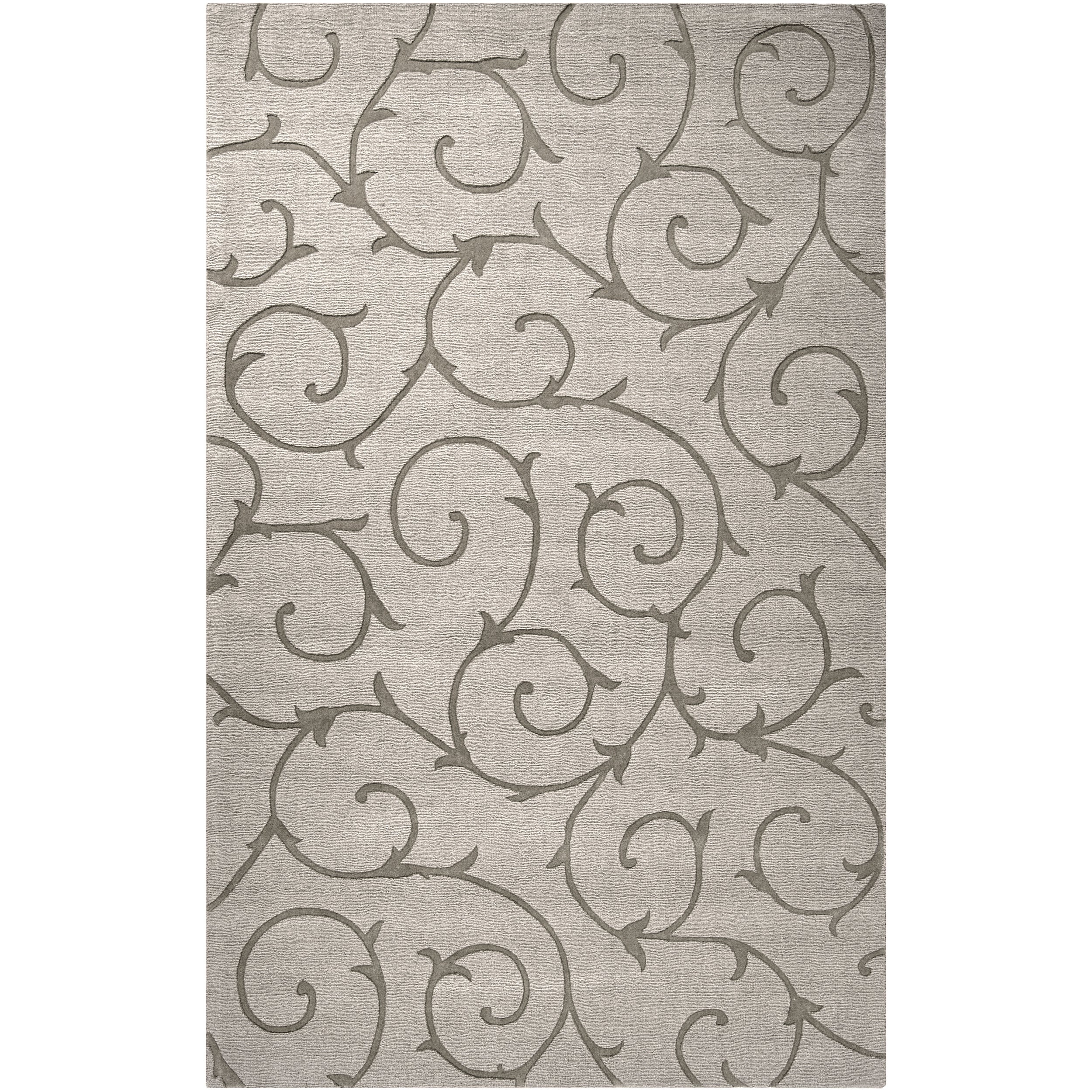 Hand-crafted Solid Grey Bristol Wool Rug (8' x 10')