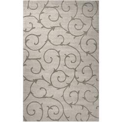 Hand-crafted Solid Grey Bristol Wool Rug (8' x 10')