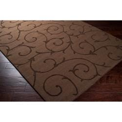 Handcrafted Dark Brown Solid Floral Bristol Wool Rug (5' x8')