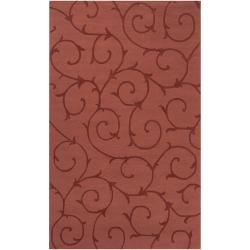 Handcrafted Red Solid Bristol Wool Area Rug (5' x 8')