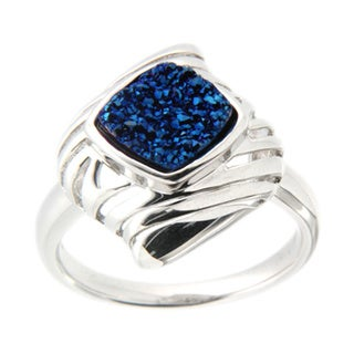 Pearlz Ocean Sterling Silver Blue Druzy Cushion Ring