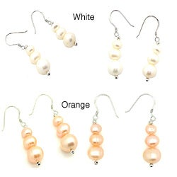 Pearlz Ocean White Freshwater Pearl Journey Earrings