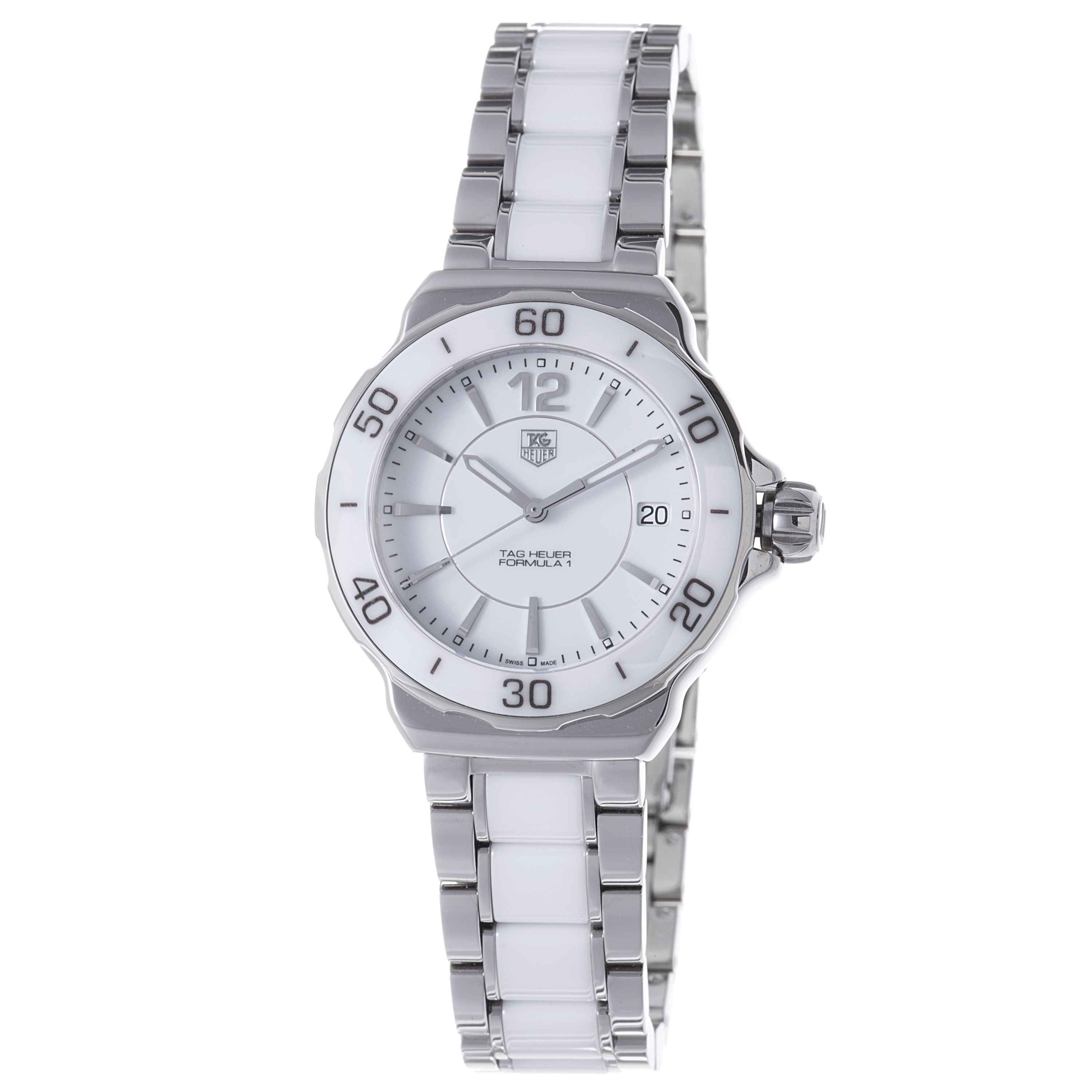 Tag heuer women 39 s wah1211 ba0861 39 formula 1 39 stainless steel white ceramic watch 14073308 for Tag heuer women
