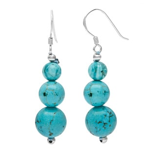 Pearlz Ocean Sterling Silver Turquoise Howlite Journey Earrings