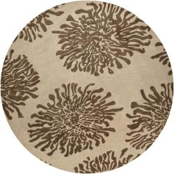Hand-tufted Contemporary Ivory/Brown Danka New Zealand Wool Abstract Rug (8' Round)