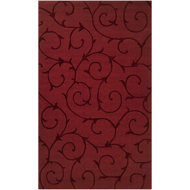 Hand-crafted Red Solid Bristol Wool Rug (5' x 8')