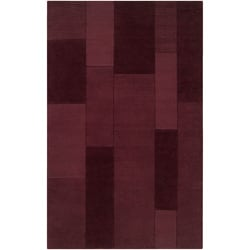 Hand-crafted Solid Casual Burgundy Ducky Wool Rug (5' x 8')