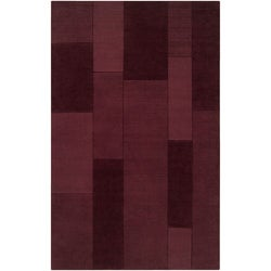 Hand-crafted Solid Casual Burgundy Ducky Wool Rug (8' x 10')