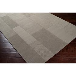 Hand-crafted Solid Casual Grey Kordak Wool Rug (8' x 10')