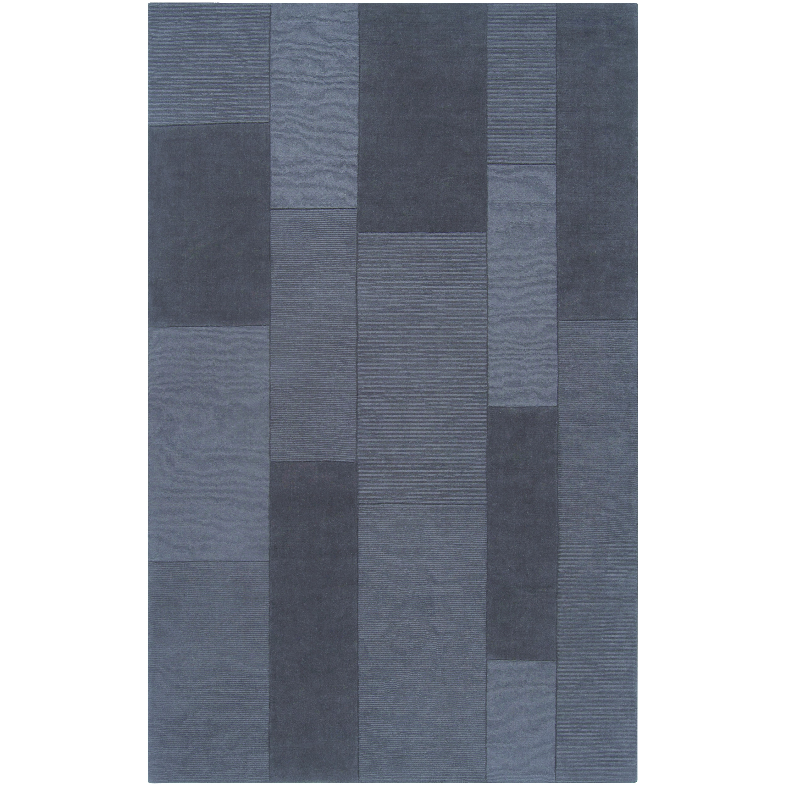 Hand-crafted Solid Casual Blue Pebble Wool Rug (5' x 8')