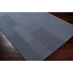 Hand-crafted Solid Casual Blue Peeble Wool Rug (5' x 8')