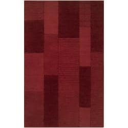 Hand-crafted Solid Casual Red Carlea Wool Rug (5' x 8')