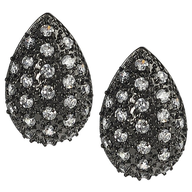 Journee Black Rhodium Pave-set Cubic Zirconia Earrings