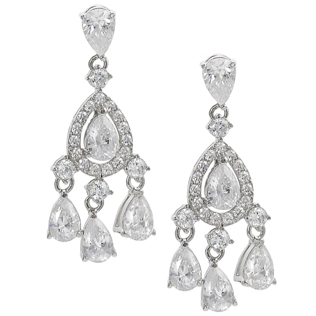 Journee Collection Silvertone Cubic Zirconia Teardrop Dangle Earrings