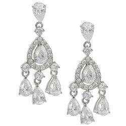 Tressa Silvertone Cubic Zirconia Teardrop Dangle Earrings