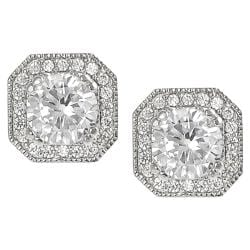 Tressa Silvertone Round and Cushion-cut Cubic Zirconia Stud Earrings