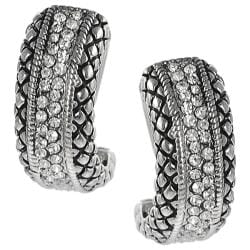 Tressa Silvertone Cubic Zirconia Hoop-style Earrings