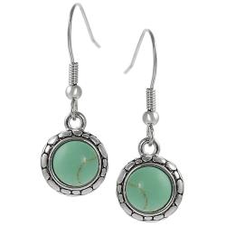 Silvertone Created Turquoise Pebble Design Dangle Earrings