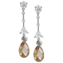 Tressa Silvertone White and Orange Cubic Zirconia Dangle Earrings