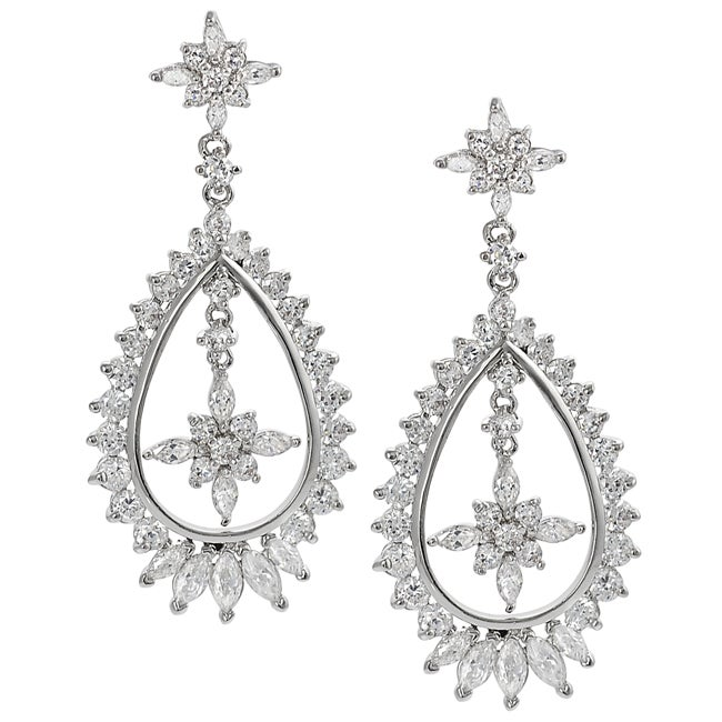 Journee Collection Silvertone Round and Marquise-cut Cubic Zirconia Earrings