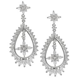 Tressa Silvertone Round and Marquise-cut Cubic Zirconia Earrings