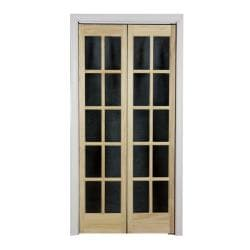 Traditional Divided Glass Unfinished Wood Tone Bifold Door