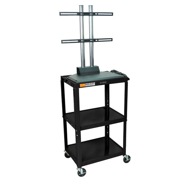 Luxor 24-42 Inch High Black Open 3 Shelf Flat Panel Adjustable AV Cart