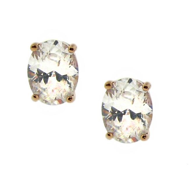 14k Rose Goldplated Clear Cubic Zirconia Oval Stud Earrings