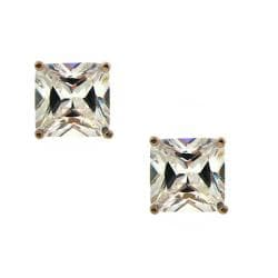 14k Rose Goldplated Big Square Clear CZ Stud Earrings