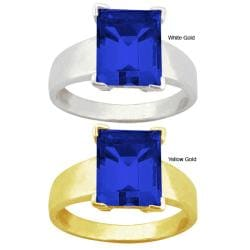 10k Gold Synthetic Sapphire Solitaire Ring