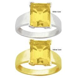 10k Gold Emerald-set Synthetic Golden Topaz Solitaire Ring