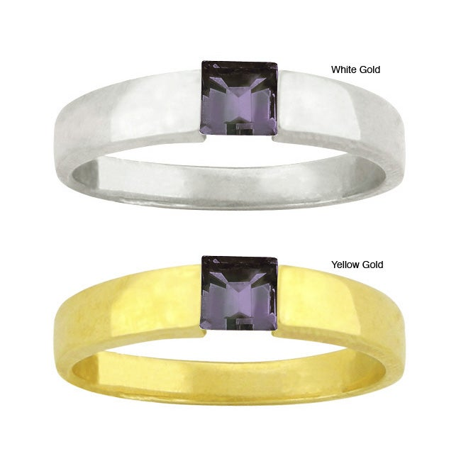10k Gold Square-cut Synthetic Alexandrite Solitaire Ring