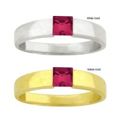 10k Gold Synthetic Ruby Solitaire Ring