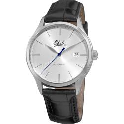Ebel Men's 'Classic' Silver Dial Black Leather Strap Watch