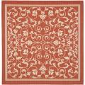 Red/ Natural Indoor Outdoor Rug (6'7 Square)