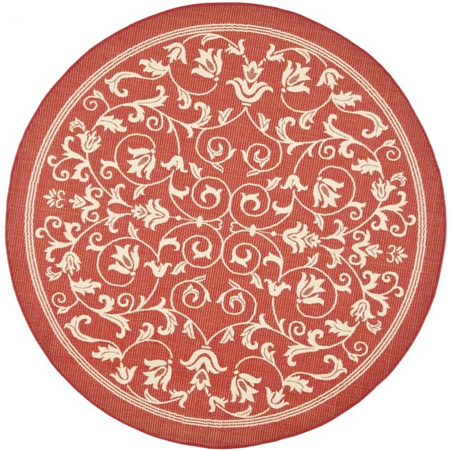 Safavieh Indoor Outdoor Round Red Natural Rug 6 7 Round