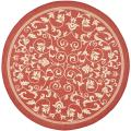Indoor/ Outdoor Round Red/ Natural Rug (6'7 Round)