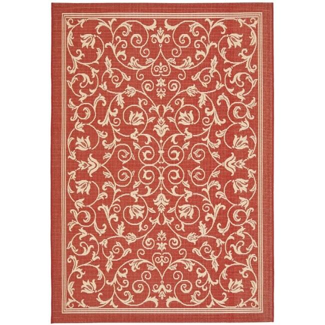 Safavieh Indoor/ Outdoor Geometric Red/ Natural Rug (9' x 12')