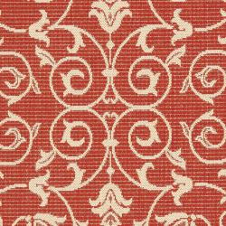 Indoor/ Outdoor Geometric Red/ Natural Rug (9' x 12')