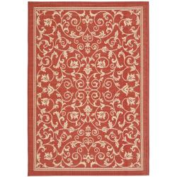 Red/ Natural Indoor Outdoor Rug (6'7 x 9'6)