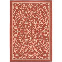 Red/ Natural Indoor Outdoor Rug (2'7 x 5')
