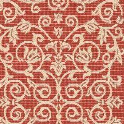 Safavieh Indoor/ Outdoor Runner Red/ Natural Rug (2'4 x 9'11)
