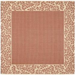 Safavieh Power-loomed Indoor/ Outdoor Red/ Natural Rug (7'10 Square)